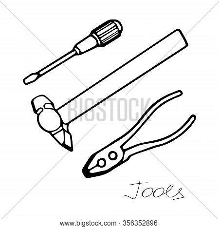 Hand-draw Black Vector Illustration Of Metallic Locksmith Tools Set Isolated On A White Background