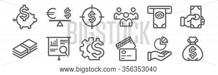 Set Of 12 Business Finance Icons. Outline Thin Line Icons Such As Money Bag, Cit Card, Presentation,