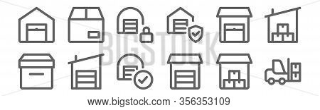 Set Of 12 Warehouse Icons. Outline Thin Line Icons Such As Forklift, Warehouse, Warehouse, Shipping