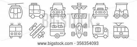 Set Of 12 Transport Icons. Outline Thin Line Icons Such As Tram, Go Kart, Aeroplane, Suv, Car, Suv