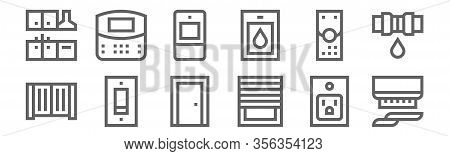 Set Of 12 Home Automation Icons. Outline Thin Line Icons Such As Smoke Detector, Blinds, Switch, Rem
