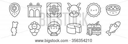 Set Of 12 Portugal Icons. Outline Thin Line Icons Such As Codfish, Cheese, Grapes, Sun, Tile, Aguas