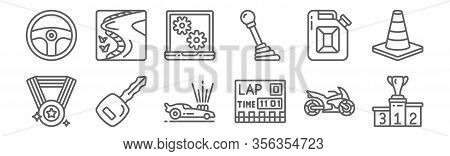 Set Of 12 Motor Sports Icons. Outline Thin Line Icons Such As Podium, Lap, Car Key, Jerrycan, Laptop