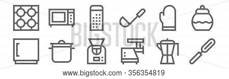 Set Of 12 Cooking Icons. Outline Thin Line Icons Such As Peeler, Meat Mincer, Cooking, Mitten, Grate