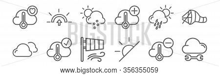 Set Of 12 Weather Icons. Outline Thin Line Icons Such As Cloud, Sunny, Cloud, Drizzle, Hail, Sunrise