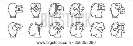 Set Of 12 Human Mind Icons. Outline Thin Line Icons Such As Psychology, Strength, Opportunities, Anx