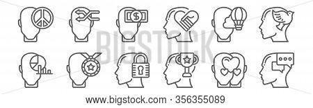 Set Of 12 Human Mind Icons. Outline Thin Line Icons Such As Mind, Triumph, Triumph, Imagination, Gre