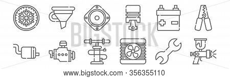 Set Of 12 Car Repair Icons. Outline Thin Line Icons Such As Spray Gun, Radiator, Motor, Battery, Sub