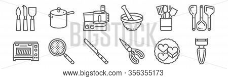Set Of 12 Kitchen Icons. Outline Thin Line Icons Such As Peeler, Scissors, Strainer, Kitchenware, Bl