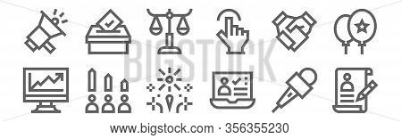 Set Of 12 Voting Elections Icons. Outline Thin Line Icons Such As Cv, Vote, Rating, Handshake, Balan