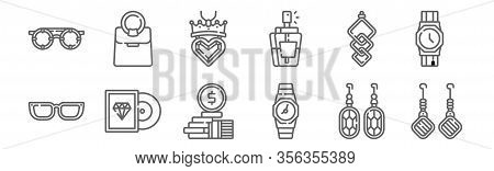 Set Of 12 Luxury Shop Icons. Outline Thin Line Icons Such As Earrings, Watch, Vinyl, Earrings, Neckl
