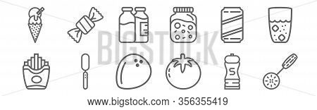 Set Of 12 Gastronomy Collection Icons. Outline Thin Line Icons Such As Slotted Spoon, Tomato, Knife,
