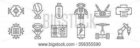 Set Of 12 Technology Icons. Outline Thin Line Icons Such As Industrial Robot, Battery, Hologram, Rou