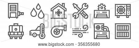 Set Of 12 Air Conditioner Icons. Outline Thin Line Icons Such As Air Filter, Wind, Car, Air Conditio