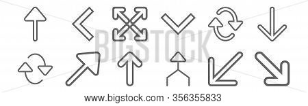 Set Of 12 Arrows Icons. Outline Thin Line Icons Such As Diagonal Arrow, Arrow, Diagonal Arrow, Refre