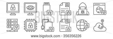 Set Of 12 Data Protection Icons. Outline Thin Line Icons Such As Phishing, Data Protection, Protecti