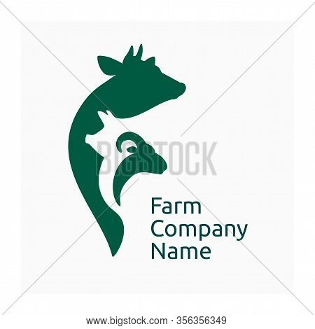 Farm Or Livestock Company Logo, Icon With Agricultural Animals. Vector Illustration With Cow, Pig An
