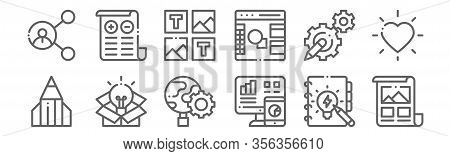 Set Of 12 Design Thinking Icons. Outline Thin Line Icons Such As Artwork, Analytics, Think Outside T