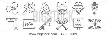 Set Of 12 Fishing Icons. Outline Thin Line Icons Such As Shoal, Oars, Tuna Can, Hat, Bonfire, Dragon