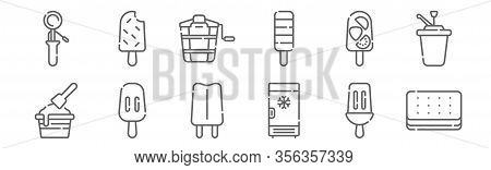 Set Of 12 Ice Cream Shop Icons. Outline Thin Line Icons Such As Ice Cream, Freezer, Popsicle, Popsic