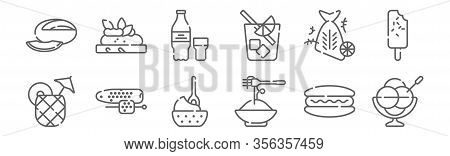 Set Of 12 Summer Food And Drink Icons. Outline Thin Line Icons Such As Ice Cream, Pasta, Corn, Fish,