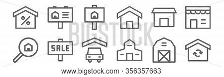 Set Of 12 Building Icons. Outline Thin Line Icons Such As Renovation, Villa, Sale, Temple, House, Re