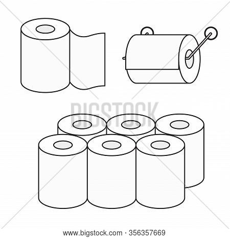 Toilet Paper Roll Vector Icon Set. Toilet Paper Pack.