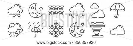 Set Of 12 Weather Icons. Outline Thin Line Icons Such As Cloud, Crescent, Rain, Cloudy, Haze, Cresce