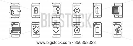 Set Of 12 Mobile Application Icons. Outline Thin Line Icons Such As Smartphone, Smartphone, Smartpho