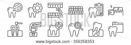 Set Of 12 Dental Icons. Outline Thin Line Icons Such As Dental, Dental Care, Tooth, Teeth