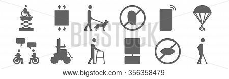 Set Of 12 Disabled People Assistance Icons. Outline Thin Line Icons Such As Cripple, Parking, Wheelc