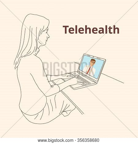Girl Uses Distance Medicine Laptop, Telehealth. Remote Provision Of Medical Advice. Fast-growing Hea