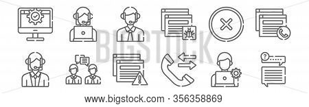 Set Of 12 Tech Support Icons. Outline Thin Line Icons Such As Dialogue, Phone Call, Conversation, Er