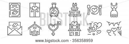 Set Of 12 Wedding Icons. Outline Thin Line Icons Such As Garland, House, Church, Wedding Dinner, Hon