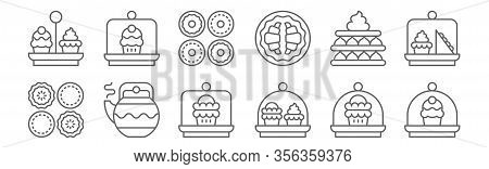 Set Of 12 High Tea Icons. Outline Thin Line Icons Such As Cake Dome, Cake Dome, Teapot, Tart, Apple