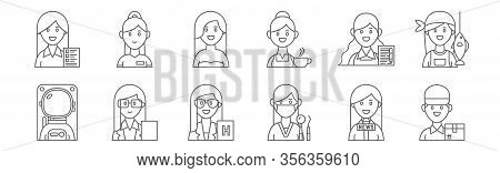 Set Of 12 Female Occupations Icons. Outline Thin Line Icons Such As Delivery Man, Orthodontist, Atto
