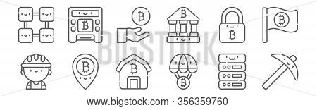 Set Of 12 Bitcoin Icons. Outline Thin Line Icons Such As Pick, Bitcoin, Pin, Padlock, Bitcoin, Atm
