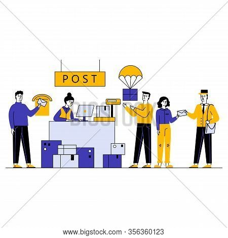 Customers Receiving And Sending Packages In Shipping And Delivery Department Vector Illustration. Ma
