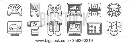 Set Of 12 Gaming Icons. Outline Thin Line Icons Such As Dlc, Quiz, Webcam, Game Console, Gamepad, Ga
