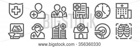 Set Of 12 Hospital Icons. Outline Thin Line Icons Such As X Ray, Hospital, Call Center, Wall Clock,