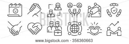 Set Of 12 Friendship Icons. Outline Thin Line Icons Such As Develop, Around The World, Respect, Help