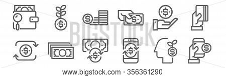 Set Of 12 Financial Icons. Outline Thin Line Icons Such As Payment Method, Payment Method, Money, Ge