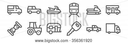Set Of 12 Vehicles And Transport Icons. Outline Thin Line Icons Such As Truck, Car Key, Tractor, Sno