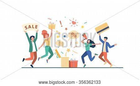Customers Celebrating Sale. People Holding Gift, Credit Card, Loudspeaker, Dancing, Having Fun. Vect