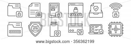 Set Of 12 Data Protection Icons. Outline Thin Line Icons Such As Safety Box, Transaction, Vpn, Docum