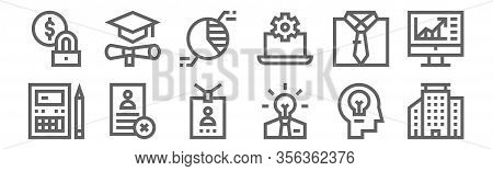 Set Of 12 Business Administration Icons. Outline Thin Line Icons Such As Buildings, Creative, Cv, Dr