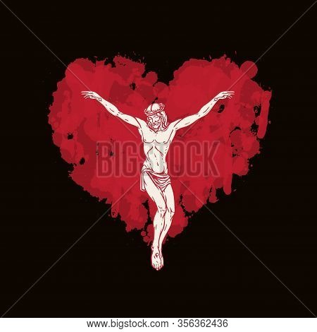 Vector Banner With Crucifix. Religious Easter Illustration With Crucified Jesus Christ In The Abstra