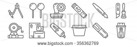 Set Of 12 Stationery Icons. Outline Thin Line Icons Such As Ink, Box, Stationery, Pen, Stamp, Pins