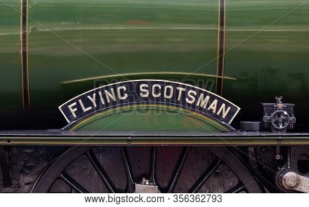Carlisle, England - July 17:  The Flying Scotsman Nameplate.  The Flying Scotsman Is A Preserved Ste