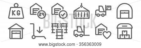 Set Of 12 Warehouse Icons. Outline Thin Line Icons Such As Warehouse, Forklift, Cart, Forklift, Ware